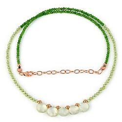 Natural Chrome Diopside Peridot And Peridot Rondelle Faceted Beads Jewelrynecklace