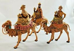 Vintage Roman Fontanini Kings On Camels 5 Scale Wise Men Nativity Italy 1980's