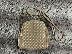 Champagne Shiny Evening Purse with decorative Chain and Cloth Shoulder Strap $10.00