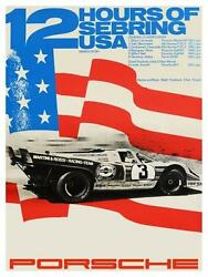 Porsche Large Poster 1971 12 Hours Of Sebring Elford Siffert Donohue 917