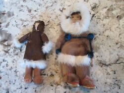 2 Antique Alaskan Eskimo Inuit Doll's 11 And 9 Seal Skin And Fur Leather Face