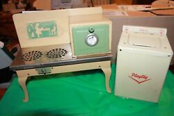 2 Vintage Toys Empire Metal Ware Tin Kitchen Stove And Playtag Princess Washer