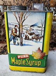 Vtg Graphic Pure Maple Syrup Advertising Tin Half Gallon Can