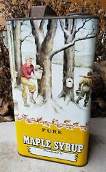 Vtg Graphic Pure Maple Syrup Advertising Tin 1 Gallon Can Covered Bridge