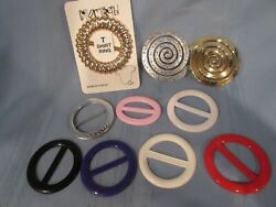 Vintage Lot Of Womenand039s Belt Buckles Round Plastic Many Colors Lot Of 10