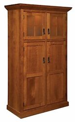 Amish Kitchen Pantry Storage Cupboard Arts And Crafts Craftsman Rollout Shelf Wood