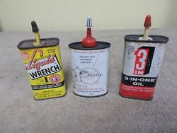 Vintage Lot Oiler Oil Cans Bux Dri-slide 3-in One Liquid Wrench Advertizin