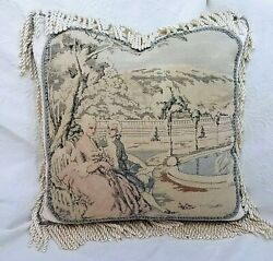 Sold To Chris. 9th C. Antique French Tapestry Pillow, Romantic, Blue Beige,