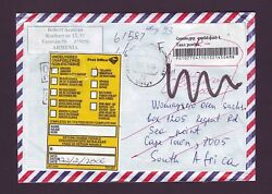 2006 Armenia Stampless Period Returned Cover South Africa Through Russia Rare