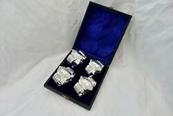A Very Rare Edwardian Cased Set Of 4 Hm Sterling Silver Napkin Rings 1905