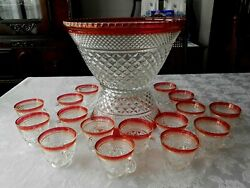 ''rare' 'vintage Ruby Flash Wexford Glass Punch Bowl Set 18 Cups, Anchor Hocking