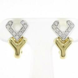 Jewelry 18k Yellow Gold White Gold Earring Diamond About8.5g Free Shipping Used