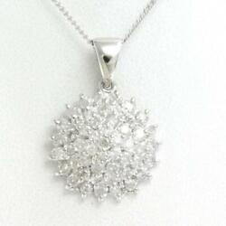 Jewelry Platinum Pt900 Pt850 Necklace Diamond 1.01 About4.4g Free Shipping Used