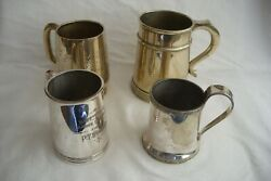 Four Antique / Vintage Silver Plated Tankards.