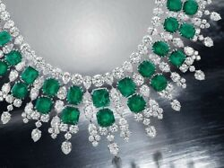 Lab Created Green Emerald 925 Sterling Silver Highend Statement Diamond Necklace