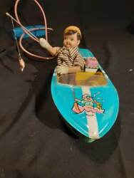 Vintage Battery Operated Tin Pleasure Boat Fishing Complete Pole And Fish