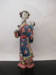 Very Fine Chinese Asian Hand Painted Mother And Child Porcelain Figurine