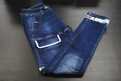 New Menand039s 8and9 Mfg. Co Pstrdrkd Strapped Up Utility Jeans Dk Denim White Slim Fit