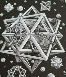Chameleons in a Polyhedral Cage Floating Through Space quot;STARSquot; M C Escher Print
