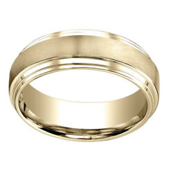 14k Yellow Gold 8.00 Mm Comfort-fit Menand039s Engagement And Wedding Band Ring Sz-7
