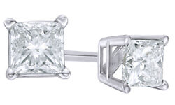 0.75 Ct Princess Cut White Diamond Solitaire Stud Earrings In 14k White Gold