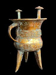 Chinese Han Dynasty Antique Gilded Copper Wine Cup