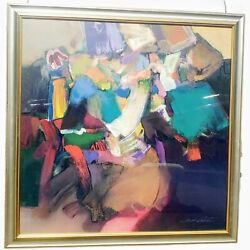 Jack Roberts Abstract Expression Framed Vtg Print On Canvas Mid Century Modern