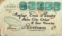 India 1872 Qv 4as Remarkable Strip Of 5 Tellicherry Malabar Coast Pd To France