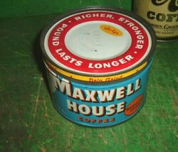 Old Vintage Maxwell House Coffee Can One-pound Round Tin Can With Metal Lid