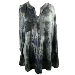 Relativity 2x Knit Top Gray Purple Abstract Henley Long Slv Pocket Cotton Blend