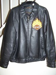Two Harley-davidson Patches On Men's Size Large 46 Black Leather Jacket/wilson