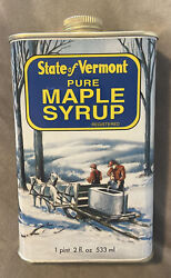 Vintage State Of Vermont Pure Maple Syrup Tin 1 Pint 2 Fl Oz Excellent Condition
