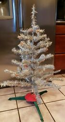 Vintage Aluminum Christmas Tree 3ft Red Green Blue Color Limbs 1960 W/stand