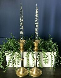 Silver Lucite Taper 8 Candles Mcm - Brass Candle Holders Made In Hong Kongandnbsp