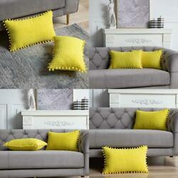 Dezene Yellow Decorative Couch ThrowPillowCovers 2Pack12X20Inch Soft