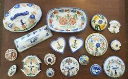 Vintage French Quimper Pottery Large Lot Including 3 Bowls, 14 Lidand Candlestick