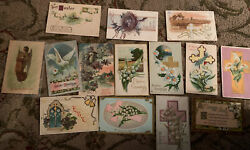 Antique Greeting Cards Easter Cross Postcards Birds Flowers Angel