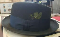 Royal Stetson 7 1/4 Menand039s Hat - Dark Grey W/ Black Ribbon Band And Feather