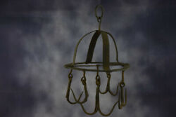 Antique Hanging Butcher Rack Cast Wrought Iron 5 Hooks French 18th C Barn Style
