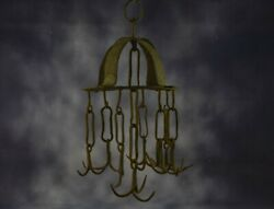 Antique Hanging Butcher Rack Cast Wrought Iron 8 Hooks French 18th C Barn Style