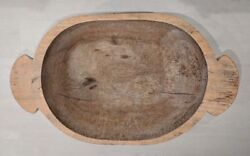 Vintage Extra Large Wooden Dough Bowl Hand Carved Farmhouse Bread Trencher