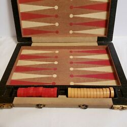 Vintage Backgammon Bakelite rare Butterscotch And Red