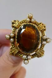 Antique Victorian 18kt. Yellow Gold Brooch With Brown/orange Citrine And Pearls