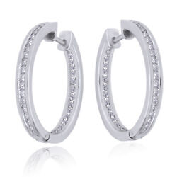 1.44 Ctw Round Natural Diamond In And Out Side Hoop Earrings 18k White Gold