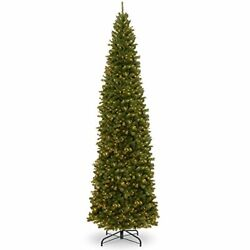 National Tree Company 16and039 North Valley Spruce Pencil Slim Tree With Clear Lights