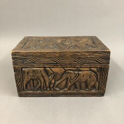 One Of A Kind Wooden Chest Box Carved Chest Box 17.5 X 11 Vintage Best Offer
