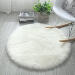 Round Area Circle Rug Plush Soft Carpet Faux Fur Rugs Home Living Room Bedroom