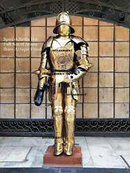 Medieval Gothic Brass Coated Full Suit Of Armor