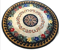 48 X 48 Inches Ancient Art Round Marble Table Top Black Dining Table Home Decor