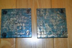 Vintage Hand Made Small Squares Glass Trivets 2 4 X 4